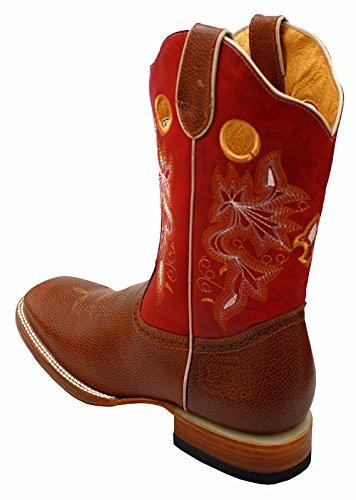 Menns Rodeo Cowboy Western Ekte Skinn Dyr Print Firkantet Tå Støvler Cognac