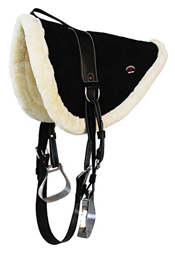 CHALLENGER Horse Saddle PAD Suede Leather Bareback Pad Treeless Stirrups Black 39136BK