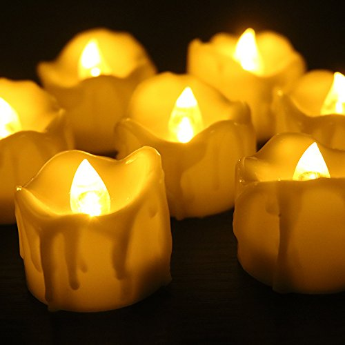 Youngerbaby 12pcs Amber Yellow Flickering Timing Flameless LED Tea Light Candles with Timer (6 Hrs on 18 Hrs Off), Wax Dripped Battery Operated Tealights for Wedding, Birthday, Home Party (Tealight Flickering Timer compare prices)