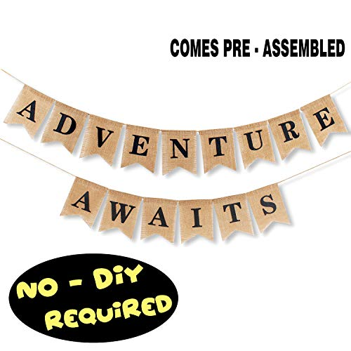 Adventure Awaits Burlap Banner Bunting Bon Voyage Travel Retirement Graduations Wedding Party Pennant Decorations Supplies - NO DIY REQUIRED -