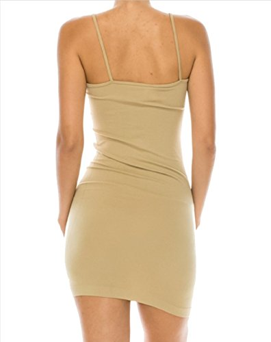 Women's Ladies Missy Seamless Solid Bodycon Undergarment Dress Thin Straps (Nude) (Dress Tank Thin Strap)