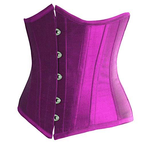 Kekailu Women Body Shaper Plus Size Solid Color Underbust Corset Waist TrainingSlim Purple XXXXXL