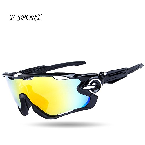 F-sport 2016 Newest Outdoor Sports Fashion Sunglasses.Great For Cycling Driving Hiking Skiing or Fishing.Changeable Lenses and Unbreakable High strength(Black)