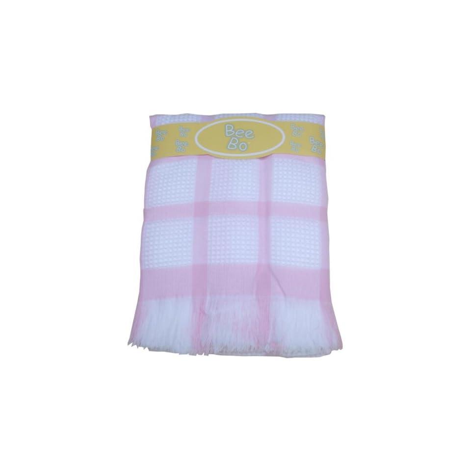BabyPrem Baby Large Soft White Acrylic Check Shawl Blanket 48 x 48 PINK