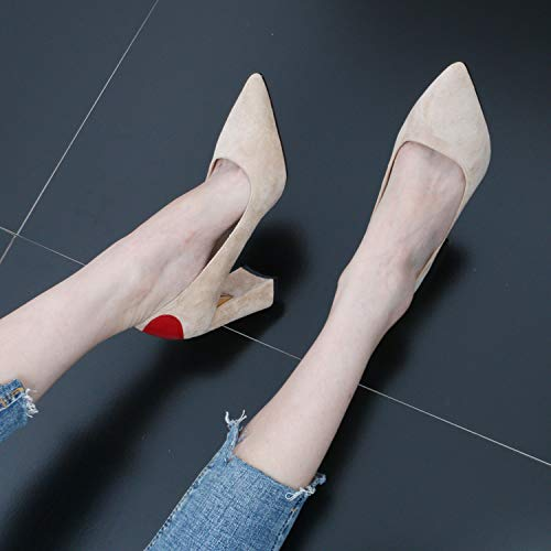 Heeled Straight Shoes Fashion And Pointed Suede women's GTVERNH Elegant Shoes And Wild Rough 8Cm shoes Sharp Fashion Simple Black High qztTx8