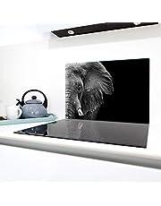 QTA | Keramische afdekplaat 1-delig 80x52 cm fornuis afdekplaten van glas elektrisch fornuis inductie fornuis bescherming spatbescherming glasplaat snijplank olifant