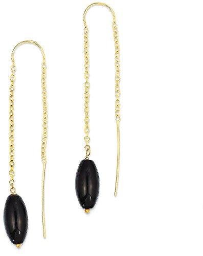 ICE CARATS 14k Yellow Gold Black Onyx U Tassel String Threader Earrings Drop Dangle Fine Jewelry Gift Valentine Day Set For Women Heart 14k Gold Onyx Drop Earrings