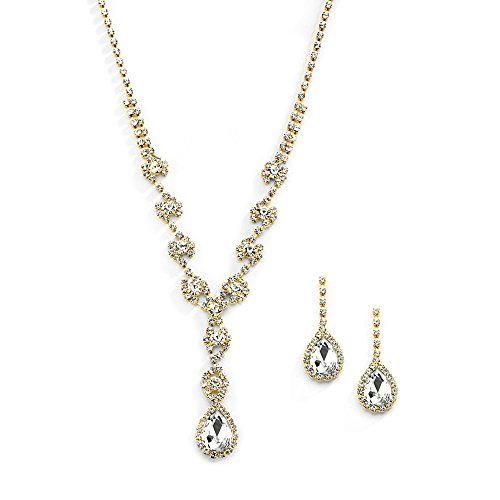 Mariell Yellow Gold Crystal Rhinestone Necklace Jewelry Set for Prom, Bridesmaids & Brides (Teardrop Yellow Gold Necklace)