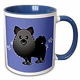 3dRose Janna Salak Designs Dogs - Cute Black Pomeranian Blue with Paw Prints - 11oz Two-Tone Blue Mug (mug_10829_6)