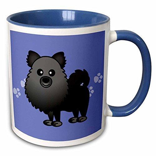 3dRose 10829_6 Cute Black Pomeranian Paw Prints-Two Tone Blue Mug, 11 oz, Multicolored