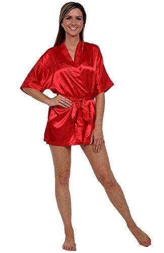 Red Silk Christmas Dress (Del Rossa Women's Satin Robe, Short Dressing Gown, Medium Red)