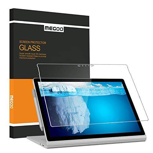 Microsoft Surface Book 2 (15 Inch), Screen Protector Megoo, [HD Tempered Glass ] Anti-Scratch Easy Installation Screen Shield Protector for Surface Book 2-15 Inch