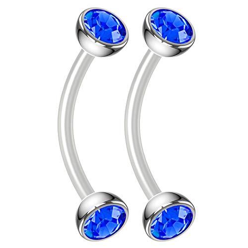 (Bling Piercing 2pc 16g Flexible Bioflex Curved Barbell Sapphire Crystal Gem 10mm Bioplast J-Curve Bent Banana Bar)
