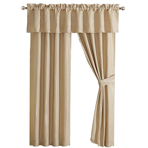 (Sara 5 Piece Lined Jacquard Curtain Panel Set includes 2 Panels, 2 Tie Backs and 1 Valance )