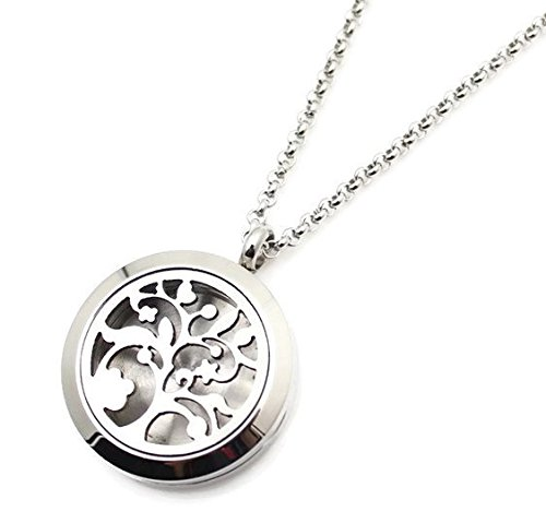 Tree of Life Essential Oil Diffuser Necklace Stainless Steel Aromatherapy Jewelry with 20 Inch Rolo Chain 5 (Love Rolo)