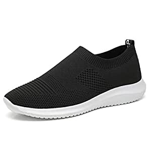 HaiNing Zheng Athletic Shoes for Men Sports Shoes Slip On Style Mesh Material Hollow Light and Flexible Fly Weave Color Matching (Color : Black White, Size : 5.5 UK)
