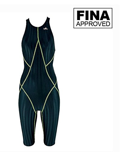 FINA Approved, YINGFA 937-2 Black/Green Strips Women's Shark-Skin Technical Swimsuits, Recordbreaker - FINA Approved (Small/24-26) - Fina Approved Swimwear