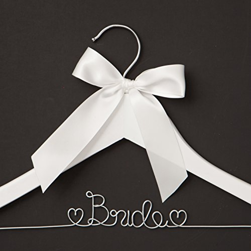 Ella Celebration Bride to Be Wedding Dress Hanger Wooden and Wire Bridal Hangers for Brides (White with Silver Wire)