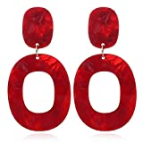 Red Acrylic Dangle Earrings: Statement Large Geometric Resin Drop Earring Set for Women (Red Circle)