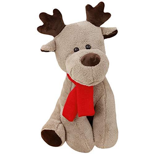 LLtidmsWL Cute Scarf Reindeer Plush Stuffed Soft Doll Kids Toy Home Sofa Decor Xmas Gift - 28cm