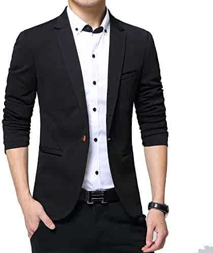 04036cecb5c KIMILILY Sports Jacket for Men Slim Fit One Button Blazer Jackets Casual  Suit Coats