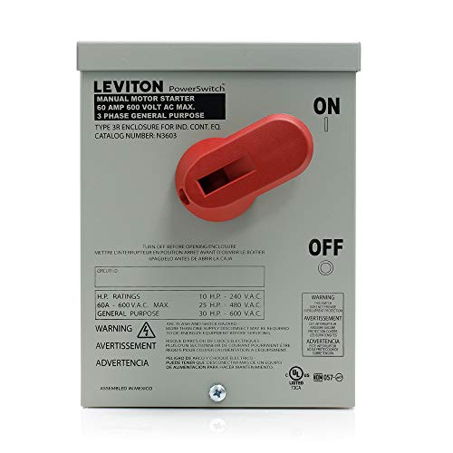 Leviton N3603 60 Amp, 600 Volt, Toggle In Type 3R Enclosure, Three-Pole, AC Motor Starting Switch, Suitable as Motor Disconnect, Industrial Grade, Black - Switch Motor Starting