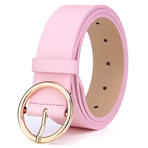 BestWare Round Buckle Casual Belt Wide Leather Belt Women PU Leather Belt