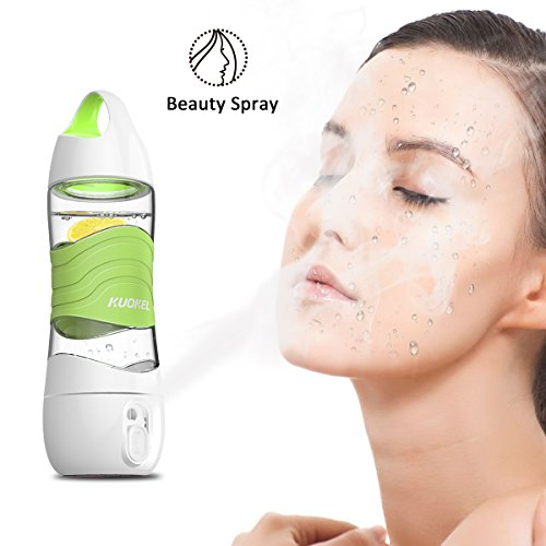 Humidifier Sports Water Bottle 400ML, Kuokel Beauty Spray Sport Cup with Smart DIDI Voice Prompts LED Light SOS Alarm Remind Drink Ultrasonic Air Aroma Diffuser Mist Maker Replenishing (Green)