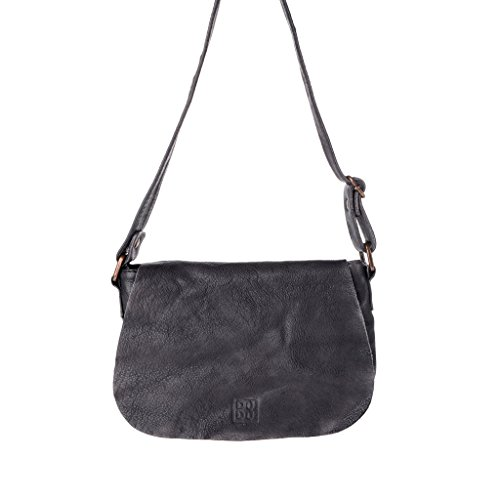 Woman's shoulder bag soft leather garment-dyed strap DUDU - 580-1077 Timeless ~ Mini Bag - Black Slate by DUDU