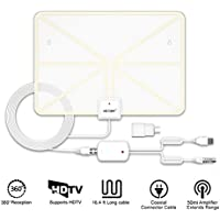 VICTONY TV Antenna, Costech Indoor Amplified HDTV Antenna-50 Miles Rangewith Detachable Amplifier Signal Booster, USB PowerSupply and 16.4ft. High Performance Coax Cable(V248A) (White 258)