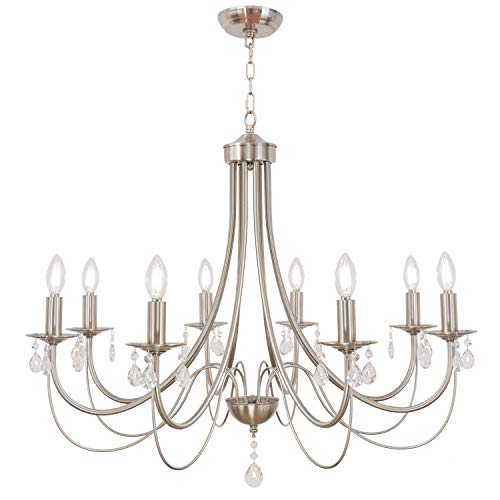 Lucidce 8 Lights Luxury Crystal Farmhouse Chandelier Lighting Contemporary Pendant Lights Fixture Brushed Nickel Island Ceiling Light for Dining Room Bed Kitchen Room