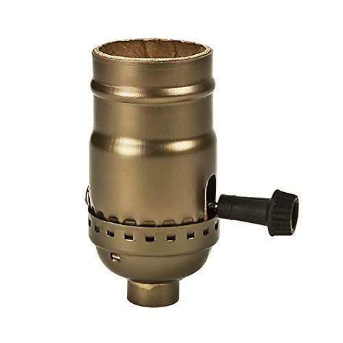 3-Way (2 Circuit) - Removable Turn Knob - Stamped Cap Light Socket Set - Antique Dark Brass - 250 Max. Watt - 1/8 IPS with Screw Set