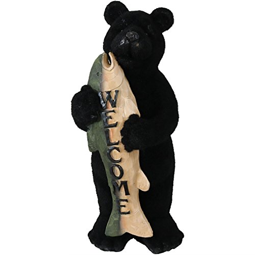 Sunnydaze Welcome Statue Rustic Bear with Fish Catch of The Day, Outdoor Garden and Yard Guest Greeter, 22-Inch Tall