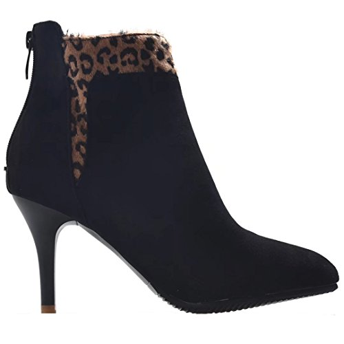 Zipper Toe AIYOUMEI Stilettos Pointed Black Autumn Ankle Boots Solid Leopard Back Winter Women's t4w4O