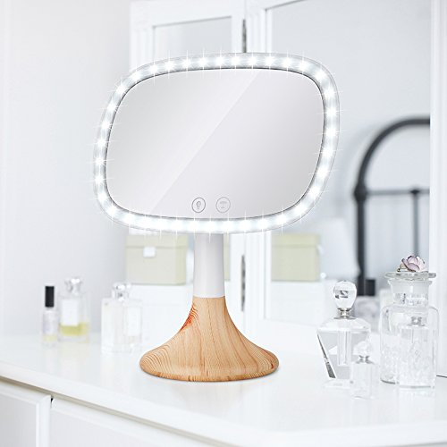 Dependable Direct Lighted Makeup Mirror – Incredibly Bright LED Light – Wireless Capabilities – and Stylish - with 10x Magnification Spot Mirror - Mirror with Wood Grain Finish Base by Dependable Direct (Image #4)