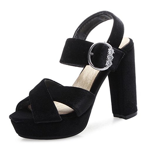 Block Shoes Heel Platform Ankle COOLCEPT Peep Women Strap Sandals Fashion Toe Black S0wqAUx1w