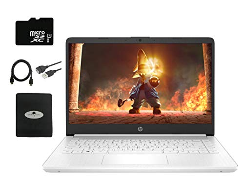2021 HP Stream 14″ HD Laptop Light-Weight, Intel N4020 (Up tp 2.8GHz), 4GB RAM, 64GB eMMC, Webcam, HDMI, WiFi, 1 Year Office 365, Google Classroom or Zoom Compatible, w/64GB SD Card, GM Accessories