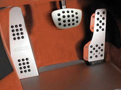 Rennline Fits 1965-1998 911/912/930 All Right Hand Drive) Aluminum pedal set-w/dead pedal - tip-3 piece Black