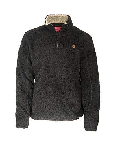 Coleman Quarter Zip Heather Sherpa Pullovers for Men (Large, Dark Brown)