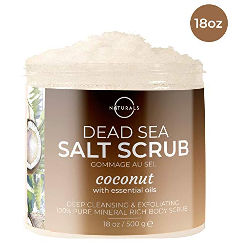 O Naturals Exfoliating Coconut Dead Sea Salt Body Scrub. Deeply Moisturizing & Skin Smoothing. Brightens Skin, Treats Acne, Cellulite & Stretch Marks. Anti-Aging. Sweet Almond & Argan Oil 18 Oz
