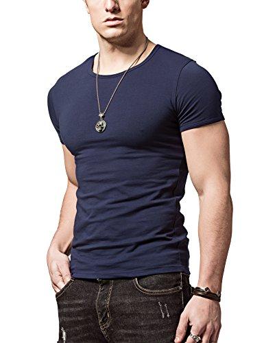 Slim Coton T royalblue v Courte cou Décontractée Hommes Manche O shirt cou Shirts Sports Loisir Coupe o Xdian cou t0fRYwqq