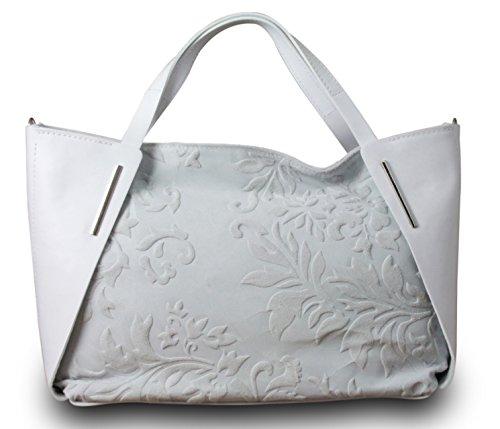 Fabriqué en Italie Luxe Femme Sac à main Sac à main Bag Shopper en cuir véritable Blanc