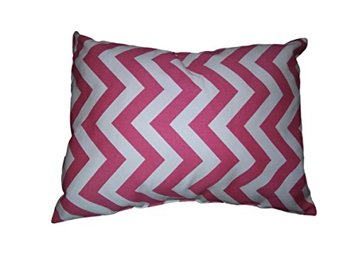 "Hot pink chevron and white, Size 12""x 17"", throw pillow, Nursery chair decor, baby girl, sofa, bed decor chair decor. Hypoallergenic, zigzag, dorm, washable. Ready to use."