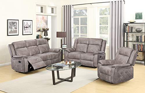 (GTU Furniture Double Reclining Sofa and Loveseat, Grey Polished Microfiber Living Furniture Set (Sofa+Loveseat+Chair))