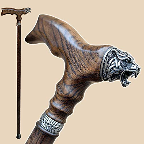 Fancy Walking Canes for Men - Celtic Bear - Stylish Men's Wooden Walking Sticks and Canes - Fashionable Wood Cane - Cherry Part Mfg