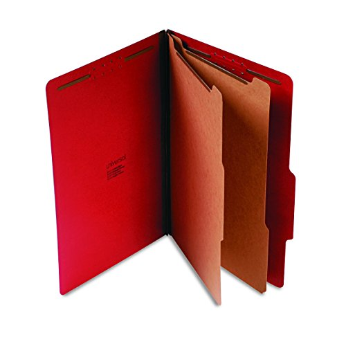 6 Section 10 Box (Universal 10313 Pressboard Classification Folders, Legal, Six-Section, Ruby Red, 10/Box)