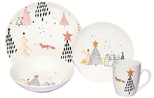 Melange Coupe 32-Piece Porcelain Dinnerware Set (Winter Fox) | Service for 8 | Microwave, Dishwasher & Oven Safe | Dinner Plate, Salad Plate, Soup Bowl & Mug (8 Each)