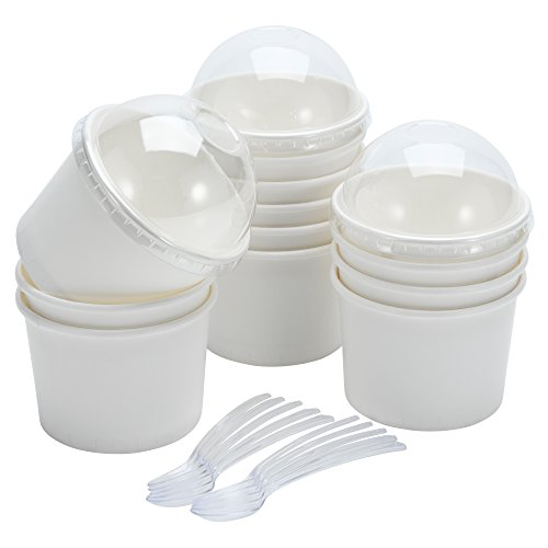 Containers Dome Lid ([100pcs] Ice Cream Cups With Dome LIDS and Spoons - Disposable Set - Paper - White - 8oz (2-3 Scoops))