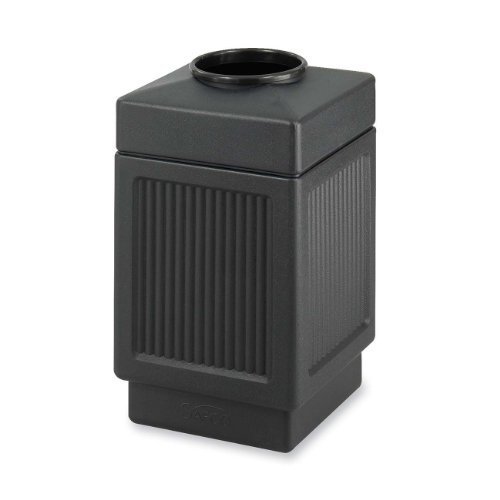 Safco Products 9475BL Canmeleon Recessed Panel Waste Receptacle, Top Open, 38 Gallon, - Gallon Receptacle 38