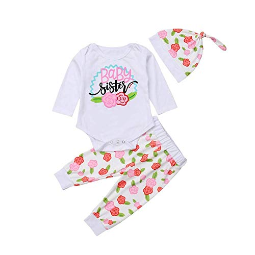 HESHENG 3PCS Baby Gril Sister Clothes Flower Letter Printed Romper Newborn Long Sleeve Top + Toddler Pants + Headband Hat Outfits Set (70(0-6M), Baby Sister) -